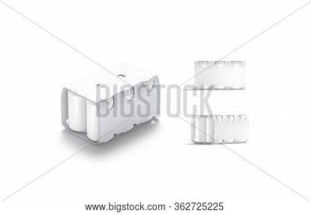 Blank White Six Beer Can Cardboard Pack Mockup, Different Views, 3d Rendering. Empty Aluminum Tin In
