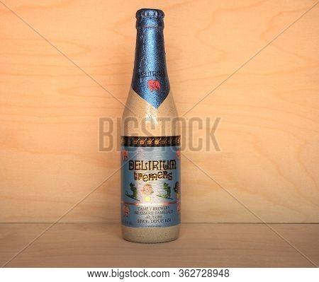 Melle, Belgium - Circa April 2020: Bottle Of Delirium Tremens Beer