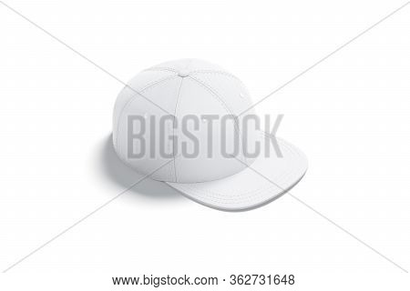 Blank White Jeans Snapback Mockup, Side View, 3d Rendering. Empty Baseball Or Rap Artist Cap With Vi