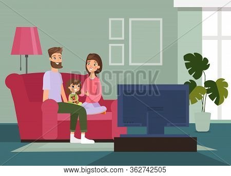 Vector Illustration Family With Kid Sitting On The Couch, Watching Tv Together, Family Time At Home.