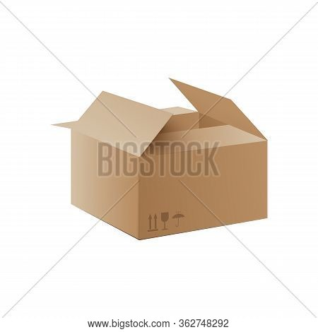 Mockup Of Carton Delivery Packaging Box, Realistic Vector Illustration Isolated.