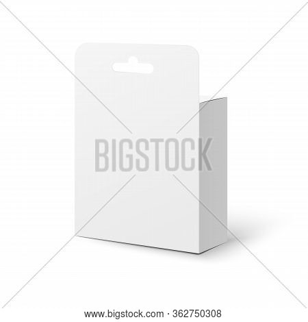 Realistic Retail Box Tab Pack Mockup With Hanger Hole From Back View