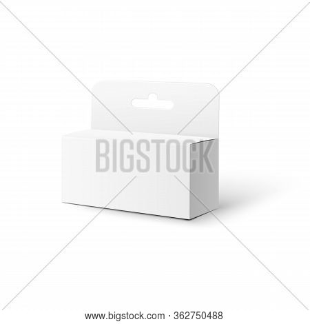 Realistic White Box Pack Mockup With Hang Tab Isolated On White Background