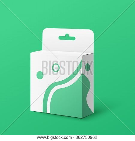 White And Green Retail Product Package Box With Hang Tab
