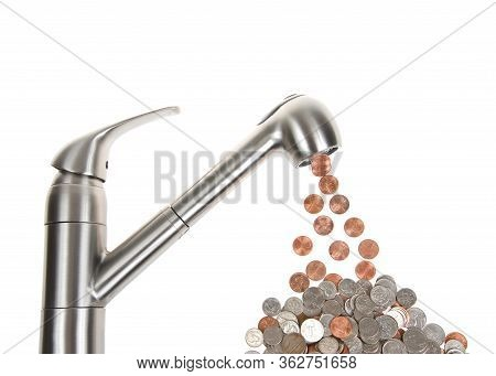 Kitchen Sink Faucet Isolated On White, Leaking Pennies, Which Cumulatively Add Up To Nickels And Dim
