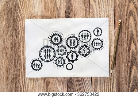 Corporate Hr Management Pencil Hand Drawn With Group Of Rotating Gears And Cogs. Business Team Build