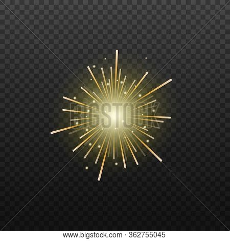 Fireworks Or Firecrackers Exploding Realistic Vector Illustration Isolated.