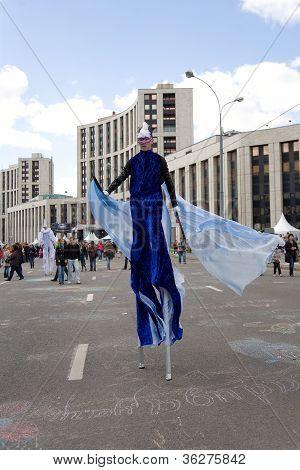 Moscow - September 1, 2012: Man In Blue Fancy-dress  Go On Prospectus  Academician Sakharova During