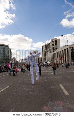 Moscow - September 1, 2012: Man In White Fancy-dress  Go On Prospectus  Academician Sakharova During