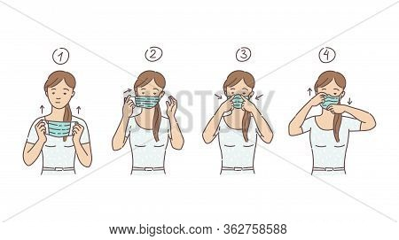 Woman Putting On Medical Mask Sketch Cartoon Vector Illustration Isolated.