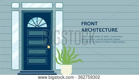 Front Architecture Header And Doorway Banner Template Flat Vector Illustration.