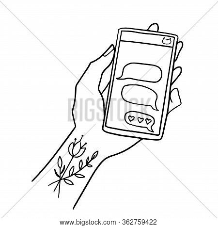 Female Flower Inked Hand Line Art Illustration Holding A Smartphone With An Open Chatting App. Mobil