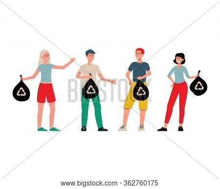 People Cartoon Characters With Litter Bags, Flat Vector Illustration Isolated.