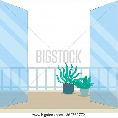 Balcony Or Terrace Doorway View With Plants Flat Vector Illustration Isolated.