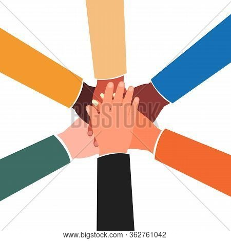 Joined Hands Of Diverse Group Of People - International Team Joining Hands