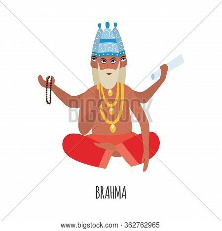 Cartoon Brahma - Creation God From Hinduism Religion In India