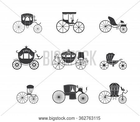 Vintage Carriage And Coach Wagon Icon Set Isolated On White Background