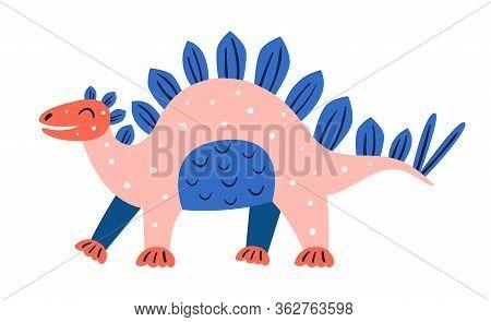 Little Cute Pink Stegosaurus. Prehistoric Animals. Jurassic World. Paleontology. Reptile. Archeology