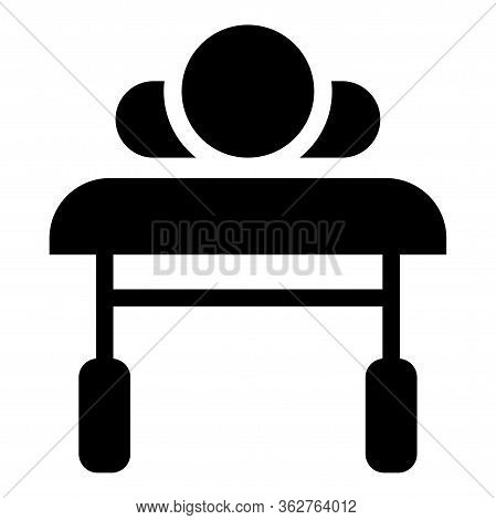 Patient Lying On Medical Bed Couch View From Head Sick Man Rehabilitation Icon Black Color Vector Il