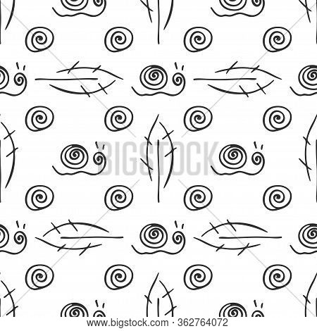Fruit Leaf And Snail Rural Vector Seamless Pattern. Simplified Retro Illustration. Wrapping Or Scrap