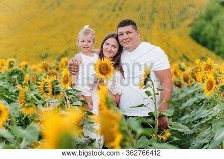 Happy Family Having Fun In The Field Of Sunflowers. Mother Holding Her Daughter And Sunflower In Han