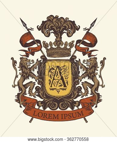 Vector Heraldic Coat Of Arms In Vintage Style With Lions, Shield, Knightly Spears, Crown, Ribbon And