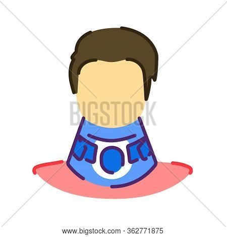 Orthopedic Cervical Neck Collar Flat Color Icon.traumatic Head And Neck Injuries Treatment