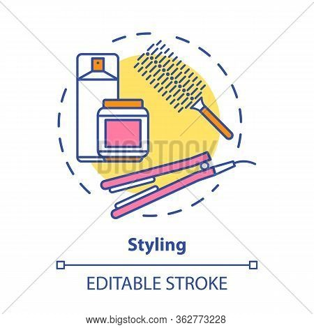 Hair Styling Concept Icon. Hair Care Products And Equipment. Hairstyling Idea Thin Line Illustration