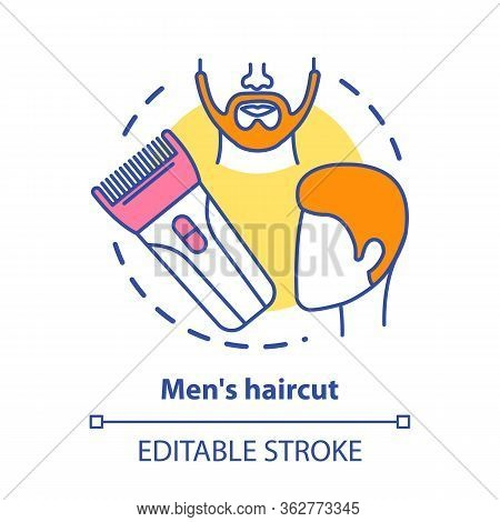 Men Haircut Concept Icon. Barbershop Idea Thin Line Illustration. Hair Care And Treatment. Hairdress
