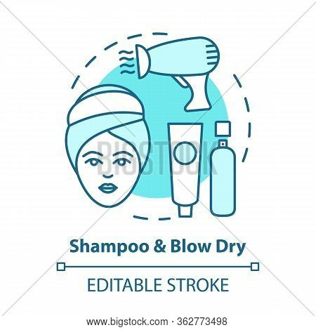 Shampoo And Blow Dry Blue Concept Icon. Hair Care, Treatment Products. Hairstyling Idea Thin Line Il