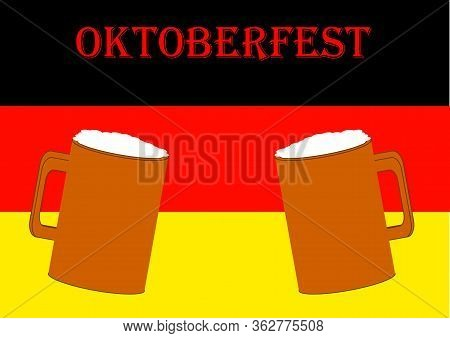 Beer Mug With Beer For Oktoberfest In Germany With Place For Text.