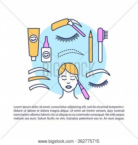 Eyebrow Tattoo Article Page Vector Template. Eye Brow Tinting, Dyeing. Brochure, Magazine, Booklet D