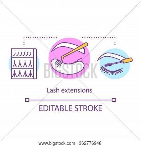 Lash Extensions Concept Icon. Beauty Service Idea Thin Line Illustration. Classic, 2d And 3d Volume.
