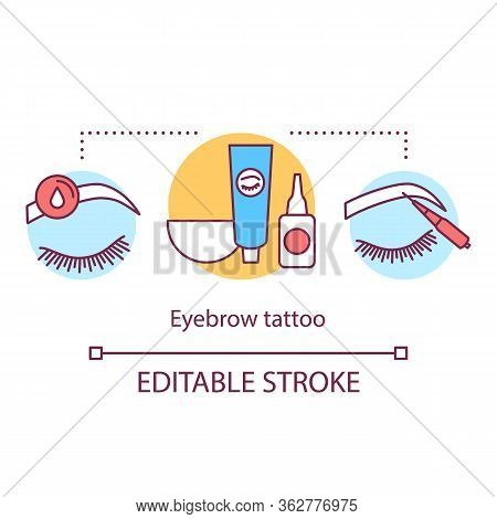 Eyebrow Tattoo Concept Icon. Beauty Service Idea Thin Line Illustration. Brow Henna. Procedure In Be