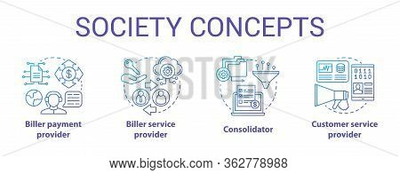 Billing Concept Icons Set. Society Idea Thin Line Illustrations. Consolidator And Customer Service.