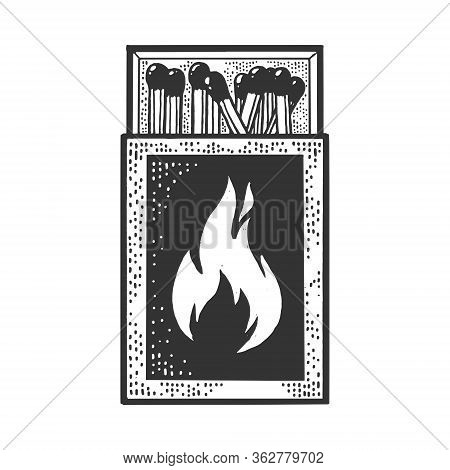 Matchbox With Matches Sketch Engraving Vector Illustration. T-shirt Apparel Print Design. Scratch Bo