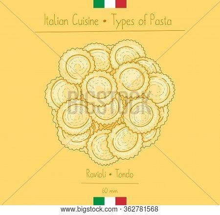Italian Food Circular Pasta With Filling Aka Ravioli Tondo, Sketching Illustration In The Vintage St