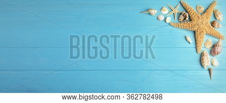 Flat Lay Composition With Beautiful Starfishes And Sea Shells On Blue Wooden Table, Space For Text.