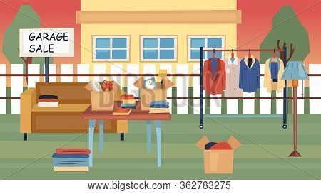 Garage Sale Concept. Offered For Sale Used Things On Street Near The House. Used Jewelry, Stylish Cl