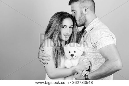 Passionate Love. Valentines Day Present. Sexy Girl And Man Hold Teddy Bear. Romantic Relationship. L