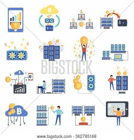 Bitcoin Mining Farm. Digital Crypto Currency. Modern Web Money. Mining Of Crypto-currencies. Farm Wi