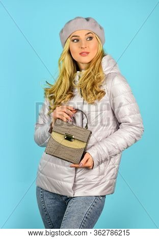 Shopping Cheaper Than Psychiatrist. Trendy Girl Holding Small Bag. Stylish Accessories. Fashionable