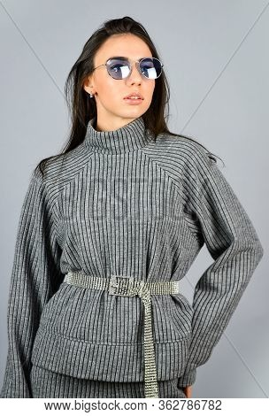 Casual Style For Every Day. Knitwear Concept. Feel Comfortable. Woman Wear Grey Suit Blouse And Pant