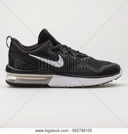 Vienna, Austria - January 12, 2018: Nike Air Max Fury Black And White Sneaker On White Background.