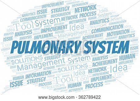 Pulmonary System Typography Vector Word Cloud. Wordcloud Collage Made With The Text Only.