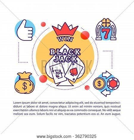 Black Jack Article Page Vector Template. Blackjack. Card Games. Casino Jackpot. Gambling. Brochure,