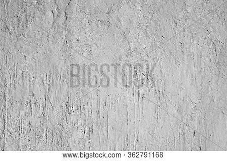 White Background. White Plastered Wall, Carelessly Stained With Paint.