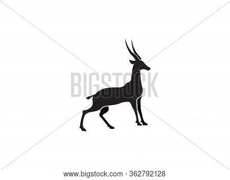 Gazelle Silhouette Black Antelope. Ghazal Vector Stand Side View Illustration Isolated On White Back