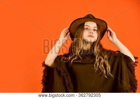 Western Soul. Cowboy Hat Adorable Girl. American Outfit. Ranch Culture. Western Traditions. Fancy Co