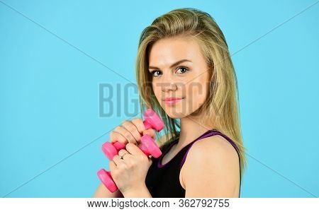 Dare To Be Great. Do Not Stop Till You Drop. Pretty Woman Doing Exercises With Dumbbells. Healthy Bo